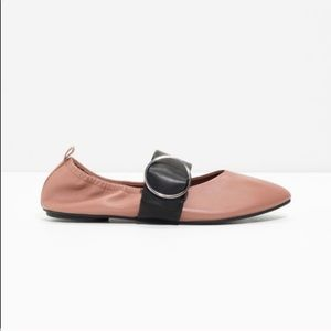 & Other Stories. Leather ballerina buckle flats
